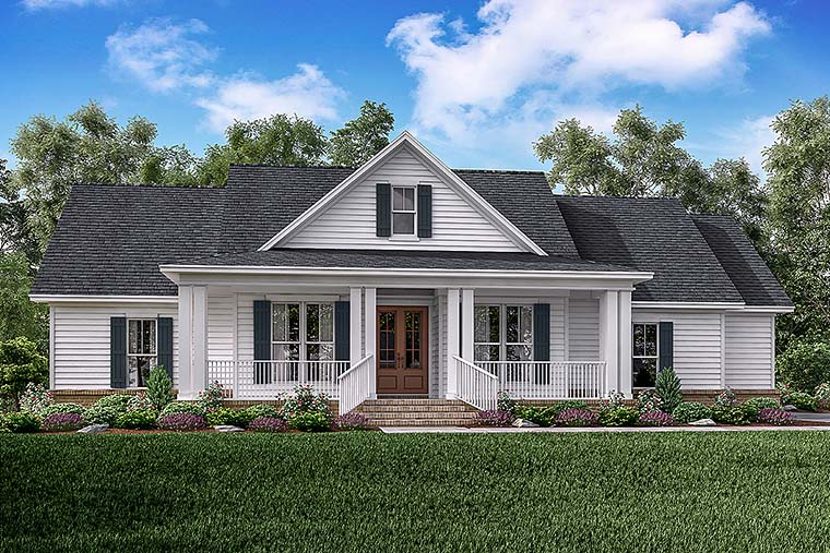 Country, Ranch, Southern, Traditional House Plan 56909 with 3 Beds, 3 Baths, 2 Car Garage Elevation