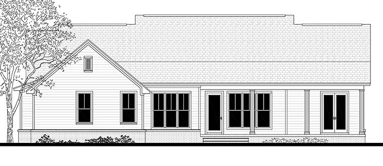 Country Ranch Southern Traditional Rear Elevation of Plan 56909