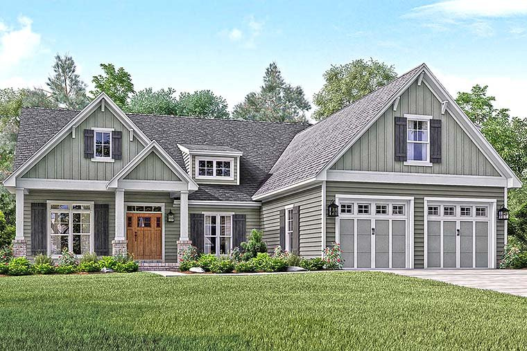 Country, Craftsman, Southern, Traditional House Plan 56910 with 3 Beds , 3 Baths , 2 Car Garage Elevation