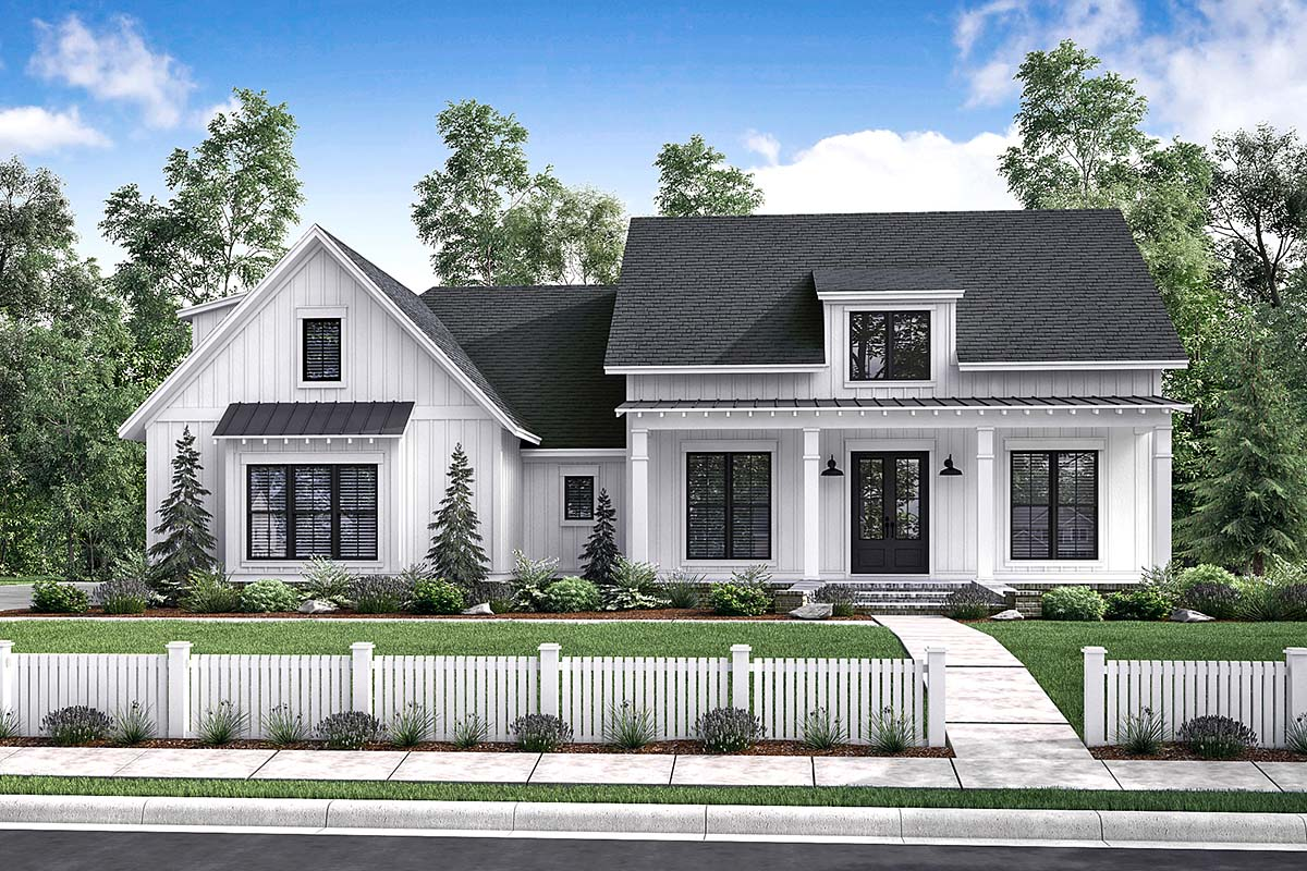 . Country Style House Plan Number 56912 with 3 Bed  2 Bath  2 Car Garage