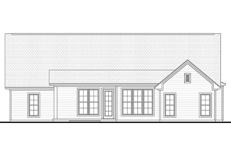 Cottage Country Ranch Traditional Rear Elevation of Plan 56913