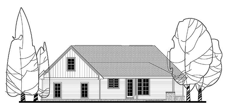 Country , Craftsman , Traditional House Plan 56914 with 3 Beds, 3 Baths, 3 Car Garage Rear Elevation