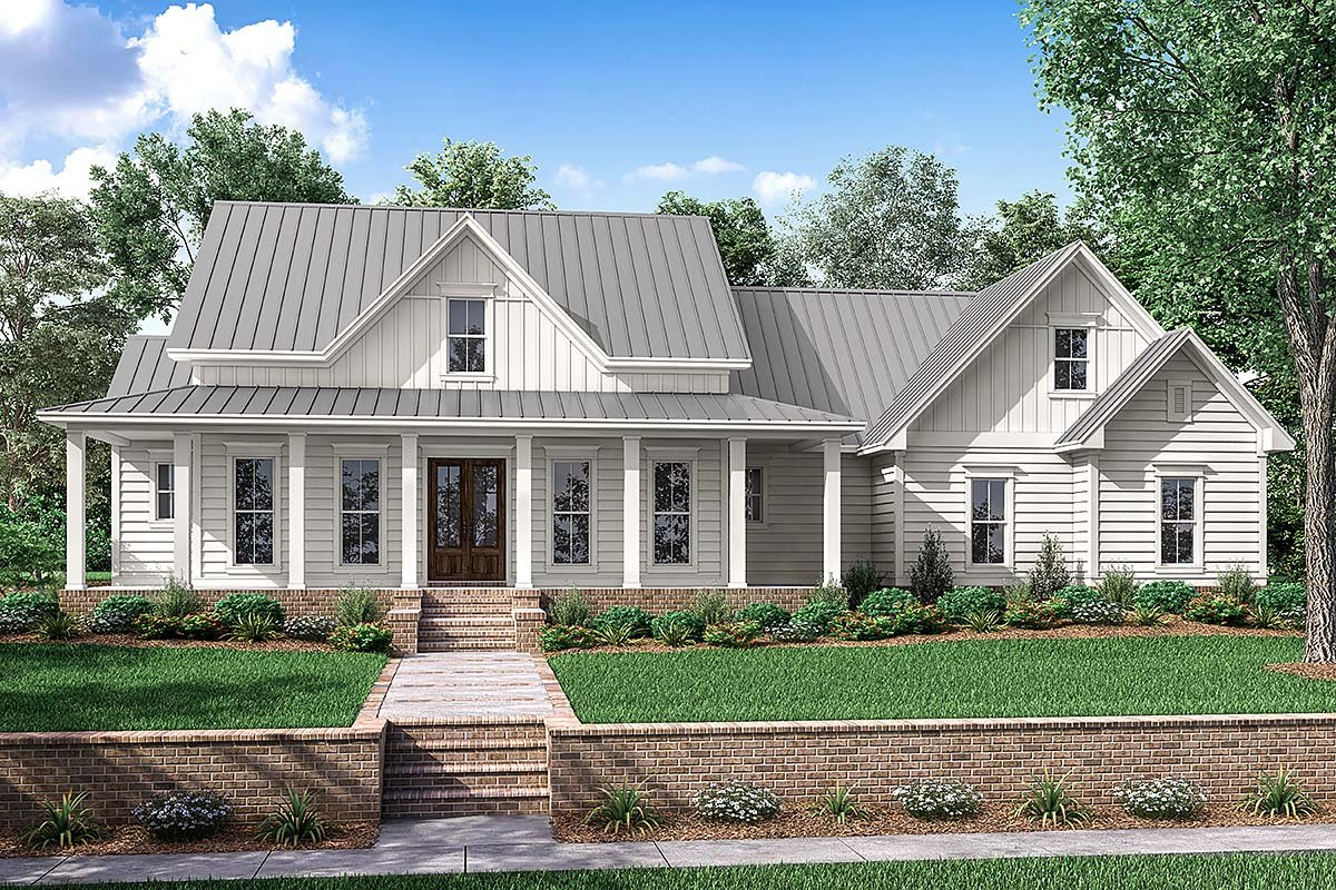 Country Farmhouse Southern Traditional House Plan 56916 Elevation