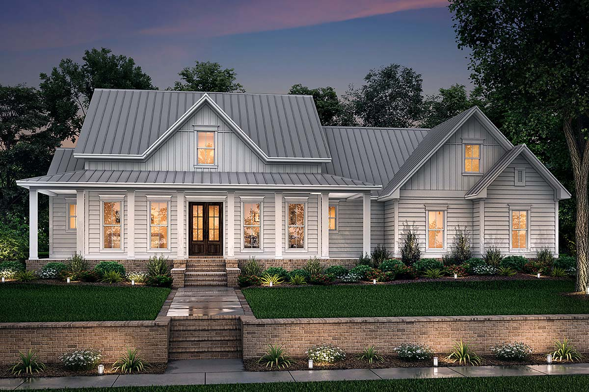 Country, Farmhouse, Southern, Traditional House Plan 56916 with 3 Beds, 3 Baths, 2 Car Garage Picture 1