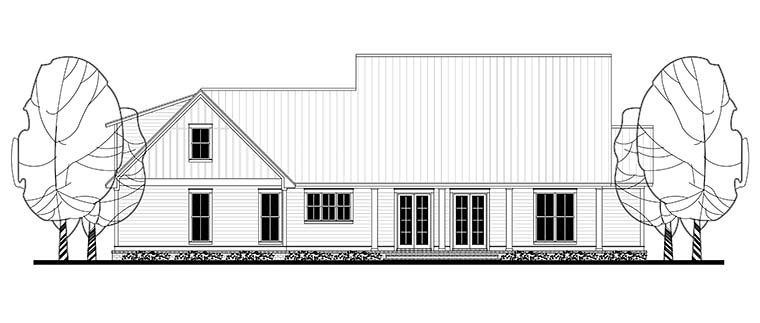 Country Farmhouse Southern Traditional Rear Elevation of Plan 56916