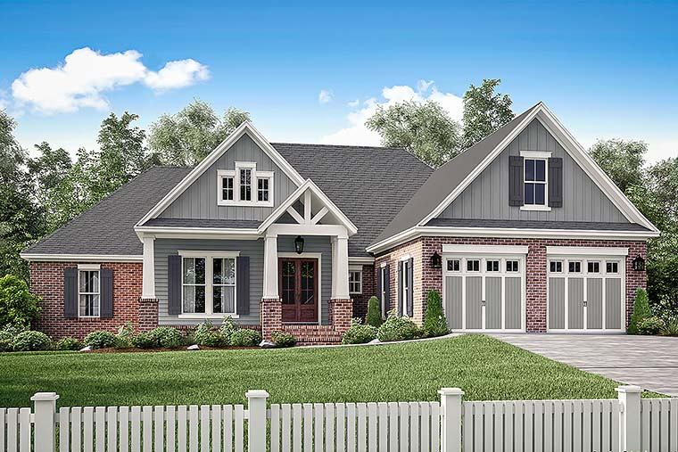 Country, Craftsman, Traditional House Plan 56917 with 4 Beds , 3 Baths , 2 Car Garage Elevation