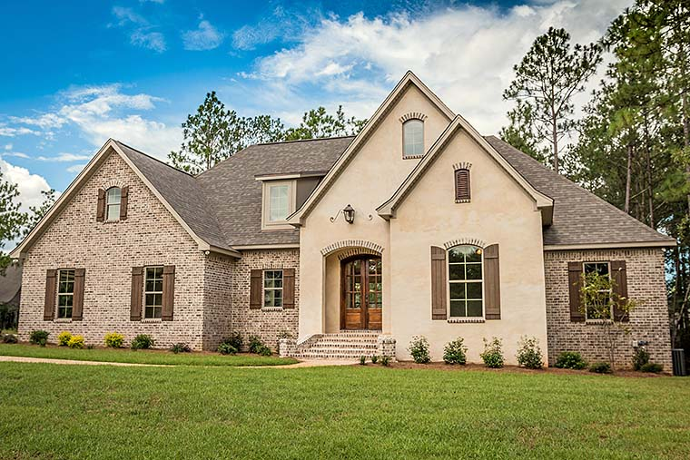 European , French Country , Southern , Traditional House Plan 56918 with 4 Beds, 3 Baths, 2 Car Garage Elevation