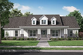 Traditional , Southern , Craftsman , Country House Plan 56919 with 4 Beds, 3 Baths, 3 Car Garage Elevation