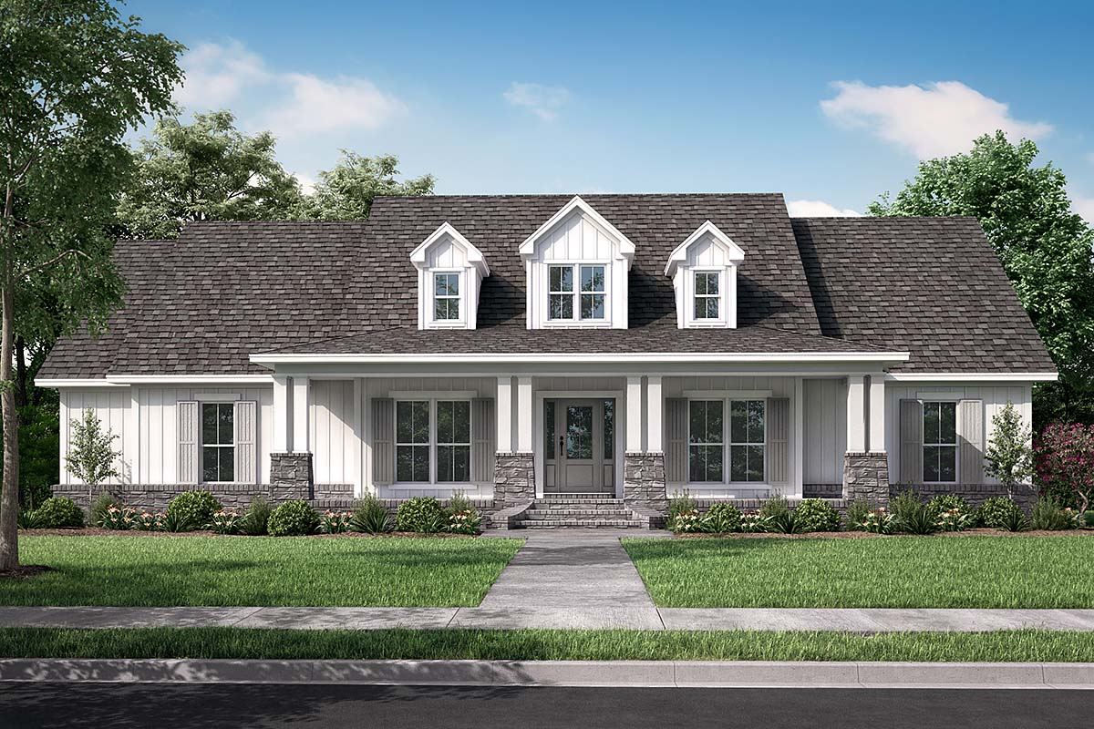 Country Craftsman Southern Traditional Elevation of Plan 56919