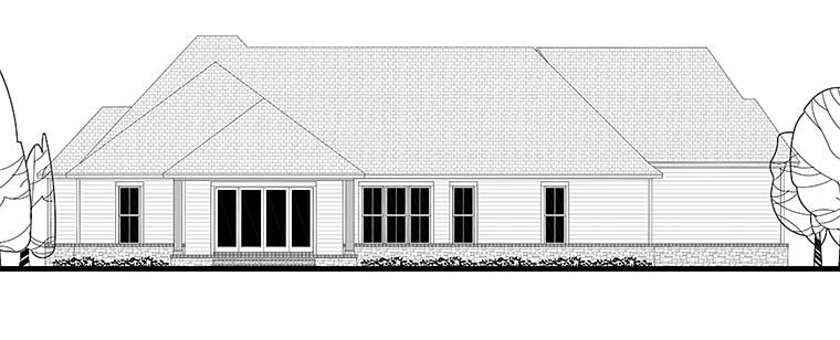Country Craftsman Farmhouse Traditional House Plan 56921 Rear Elevation