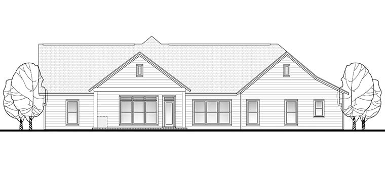 Country Ranch Traditional House Plan 56923 Rear Elevation