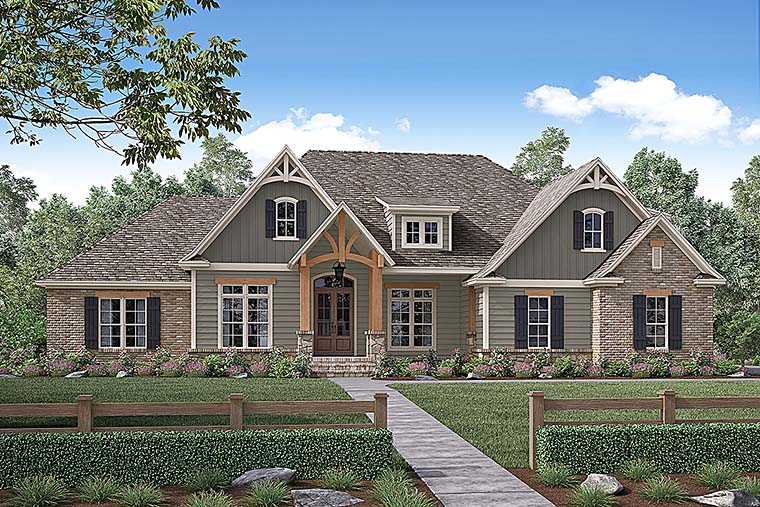 House Plan 56924 | Country Craftsman Traditional Style Plan with 2641 Sq Ft, 4 Bedrooms, 3 Bathrooms, 2 Car Garage Elevation