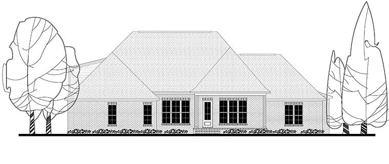 Country Craftsman Traditional House Plan 56924 Rear Elevation