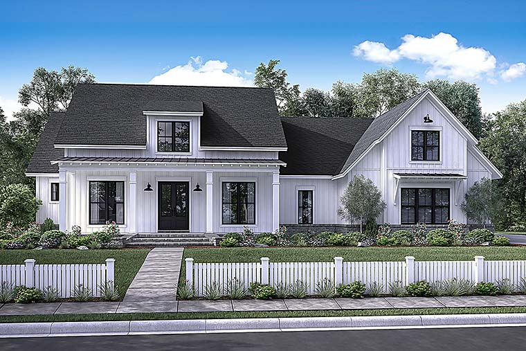 Country, Farmhouse, Southern House Plan 56925 with 4 Beds, 3 Baths, 2 Car Garage Elevation