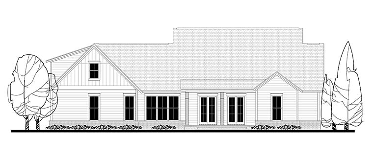 Country Farmhouse Southern Rear Elevation of Plan 56925