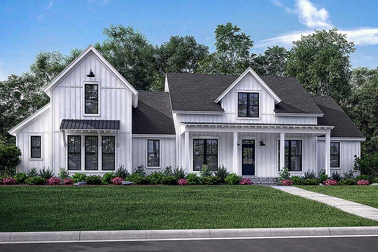 Cottage , Country , Farmhouse , Southern , Elevation of Plan 56926