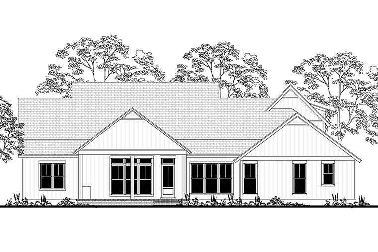 Cottage , Country , Farmhouse , Southern , Rear Elevation of Plan 56926