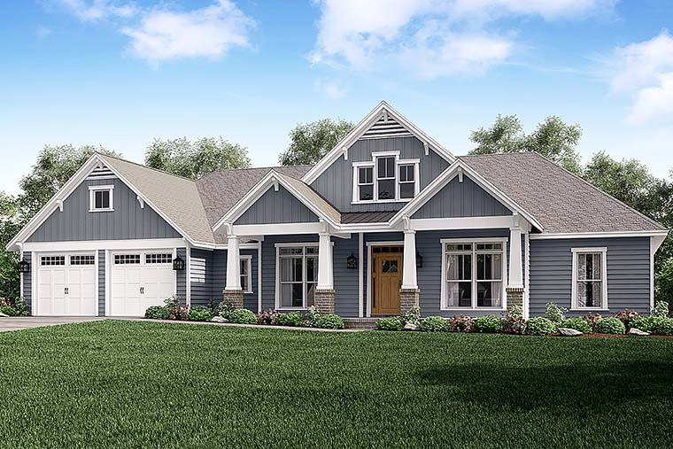 Country, Craftsman, Traditional House Plan 56927 with 4 Beds , 4 Baths , 2 Car Garage Elevation
