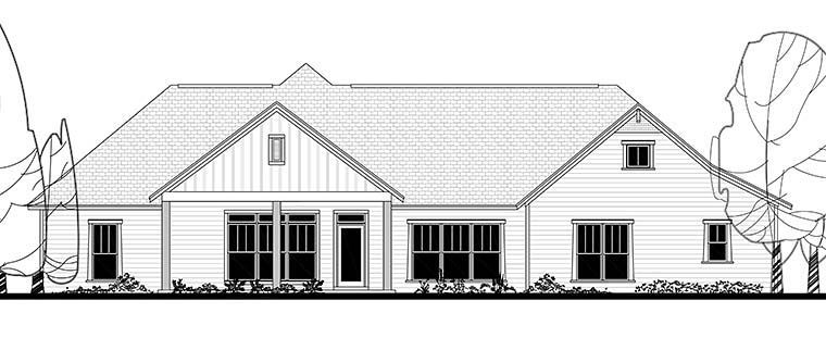 Country, Craftsman, Traditional House Plan 56927 with 4 Beds , 4 Baths , 2 Car Garage Rear Elevation
