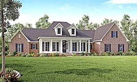 House Plan 56928 | Colonial Country Southern Traditional Style Plan with 3194 Sq Ft, 4 Bedrooms, 4 Bathrooms, 3 Car Garage Elevation