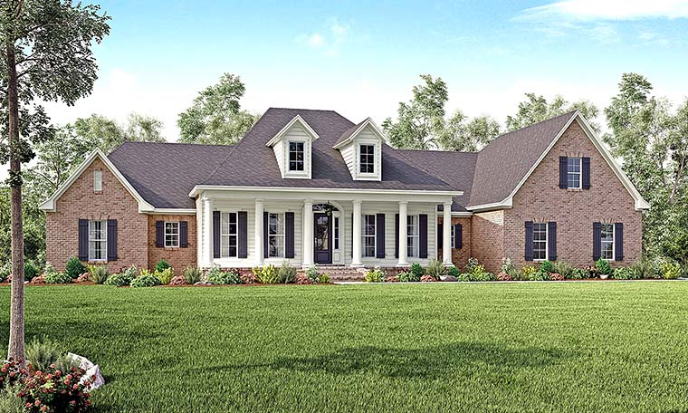 Colonial, Country, Southern, Traditional House Plan 56928 with 4 Beds, 4 Baths, 3 Car Garage Front Elevation