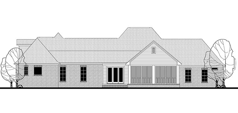 Colonial, Country, Southern, Traditional House Plan 56928 with 4 Beds, 4 Baths, 3 Car Garage Rear Elevation