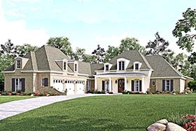 Southern , French Country , European House Plan 56929 with 4 Beds, 5 Baths, 3 Car Garage Elevation