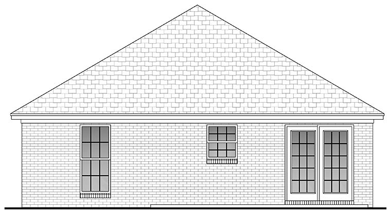 Country, Ranch, Traditional House Plan 56930 with 2 Beds, 1 Baths Rear Elevation