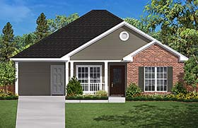 Country Ranch Traditional House Plan 56931 Elevation