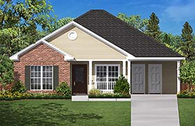 House Plan 56934 | Country Ranch Traditional Style Plan with 1200 Sq Ft, 3 Bedrooms, 2 Bathrooms, 1 Car Garage Elevation