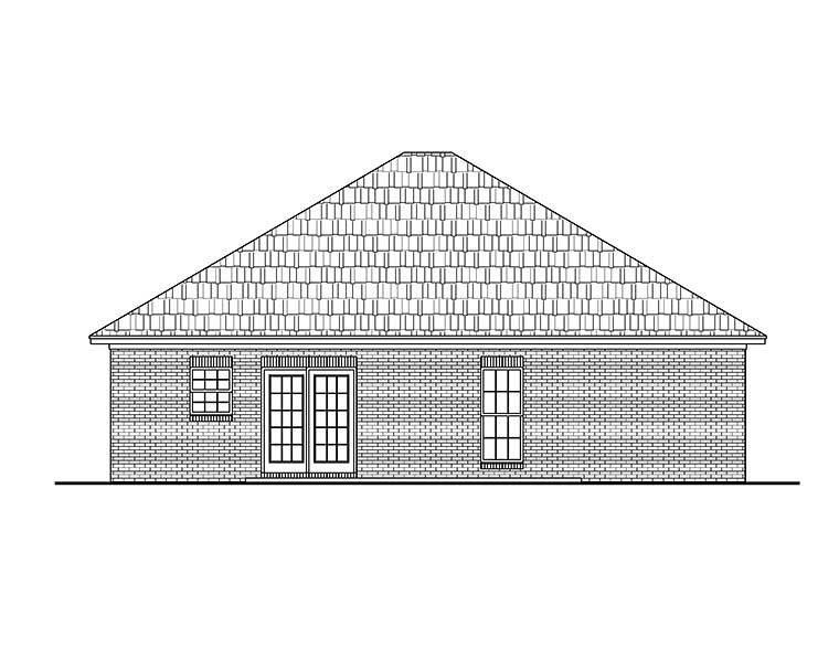 Country , Ranch , Traditional , Rear Elevation of Plan 56934