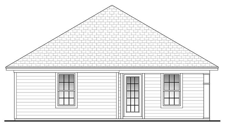 Traditional , Ranch , Country House Plan 56935 with 3 Beds, 2 Baths, 1 Car Garage Rear Elevation
