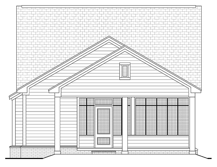 Cottage Country Southern Traditional Rear Elevation of Plan 56937