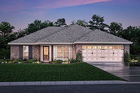 House Plan 56938 | Country Ranch Traditional Style Plan with 1300 Sq Ft, 3 Bed, 2 Bath, 2 Car Garage Elevation