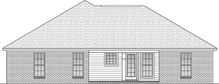 Country Ranch Traditional Rear Elevation of Plan 56938