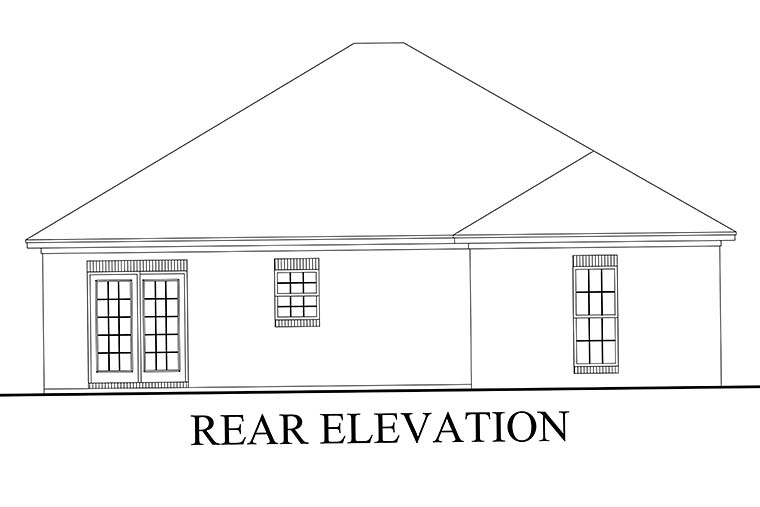 Country Ranch Traditional House Plan 56939 Rear Elevation