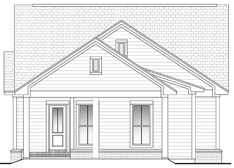 Country , Craftsman , Traditional House Plan 56940 with 3 Beds, 2 Baths, 2 Car Garage Rear Elevation