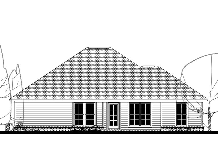 Ranch Traditional Rear Elevation of Plan 56941