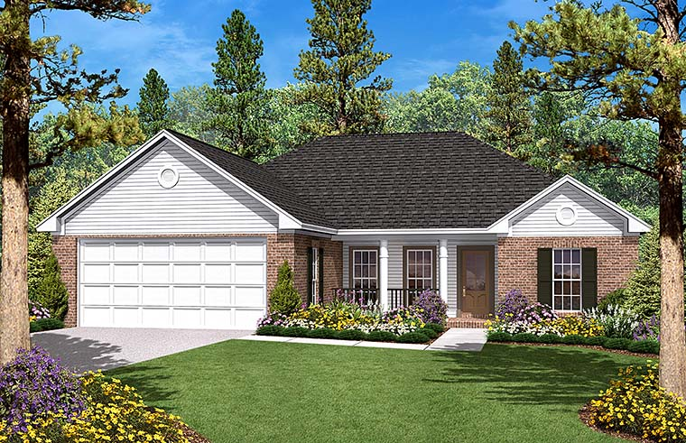 Country Ranch Traditional House Plan 56943 Elevation