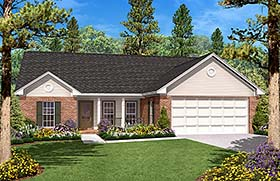 Country Ranch Traditional House Plan 56944 Elevation