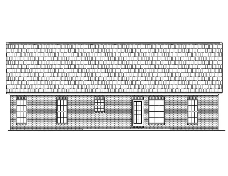 Country , Ranch , Traditional , Rear Elevation of Plan 56944