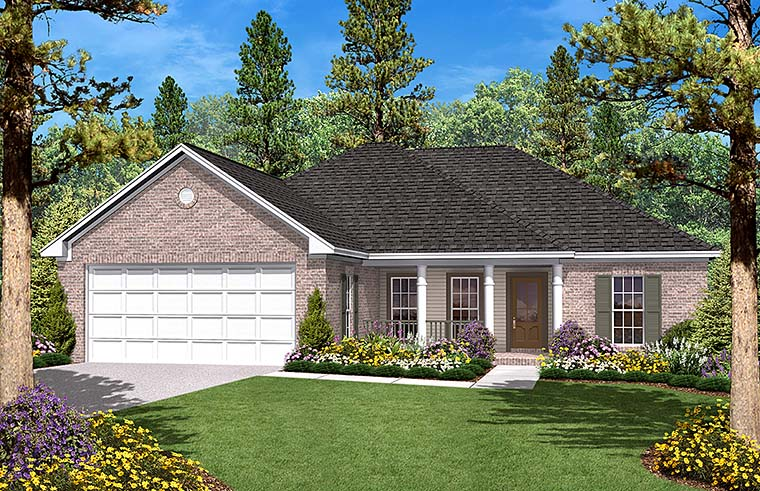 Country Ranch Traditional House Plan 56945 Elevation