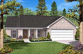 Country , Ranch , Traditional House Plan 56946 with 3 Beds, 2 Baths, 2 Car Garage Elevation