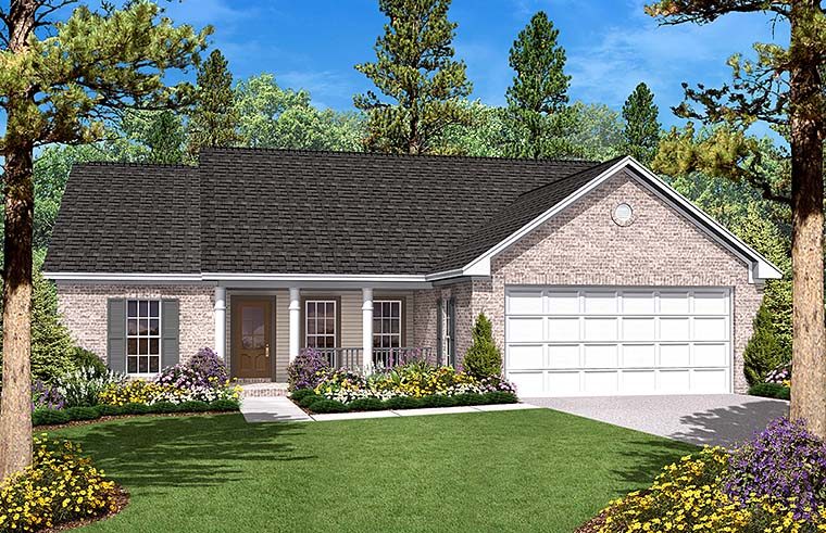 Country Ranch Traditional House Plan 56946 Elevation