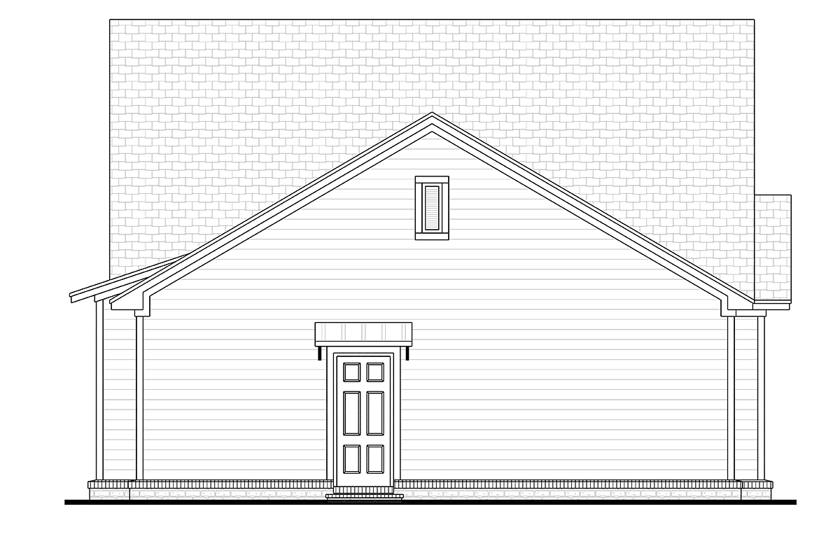 Cottage Country Craftsman Rear Elevation of Plan 56948