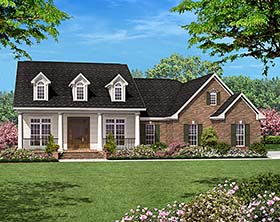 Colonial , Country , Ranch , Southern House Plan 56950 with 3 Beds, 2 Baths, 2 Car Garage Elevation