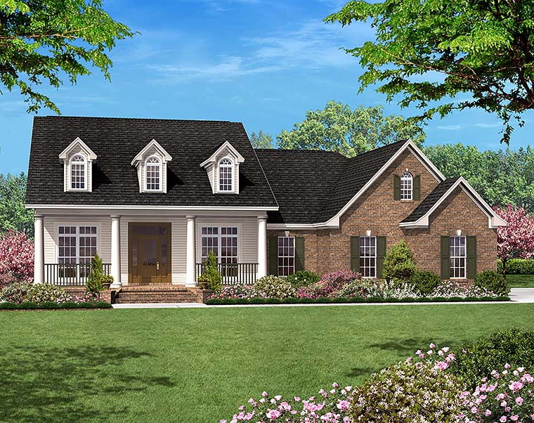 Colonial Country Ranch Southern House Plan 56950 Elevation