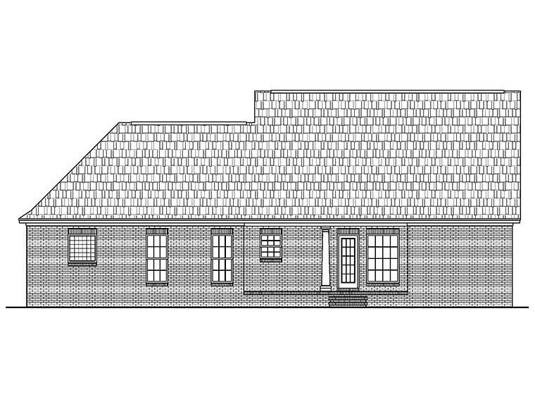 Colonial , Country , Ranch , Southern House Plan 56950 with 3 Beds, 2 Baths, 2 Car Garage Rear Elevation