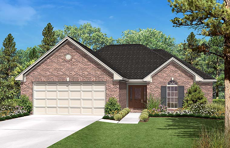 Country , Ranch , Traditional House Plan 56951 with 3 Beds, 2 Baths, 2 Car Garage Elevation