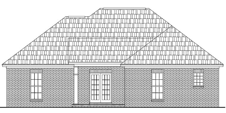 Country , Ranch , Traditional House Plan 56951 with 3 Beds, 2 Baths, 2 Car Garage Rear Elevation